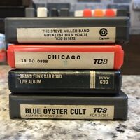 Classic Rock 8 Track Tape Lot Of 4 Tested Steve Miller, Chicago, Grand Funk, BOC