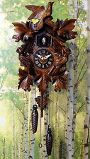 "cuckoo clock black forest quartz german wood batterie clock handmade new 13,7"""
