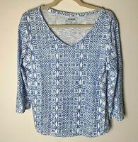 Chico's Women's Top Size 1 (Medium, 8) V-Neck 3/4 Sleeves Cotton Blend Blue