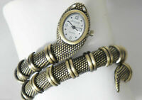 Kenneth Jay Lane Woman's Diamond Eyes Python Snake Bangle Watch Brass Style