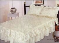 Satin Floral Fitted Bedspread Throw & Sham King Size Quilted Comforter Set Blue
