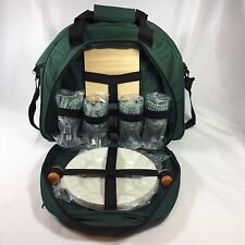 Picnic Wine and Cheese Tote Insulated  Canvas Shoulder Bag  Set for 4 Green New