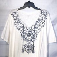 Catherines Top 2x Boho Peasant Womens Plus Size 22/24 T-shirt Cotton