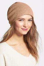 Nordstrom Halogen 100% Cashmere Camel Tan Slouchy Beanie Cap Hat NEW