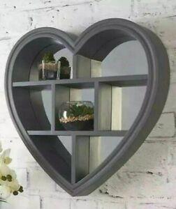NEW Loft Range Heart Shaped Mirror with Shelf - Grey