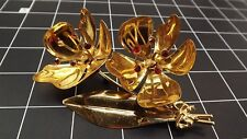Flower W/Red Stones Brooch Pin 31.2Gr Vintage Sterling Silver Gold Plate Large