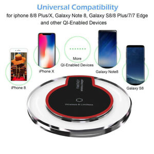 Fast Qi Wireless Charger Charging Pad Samsung Apple iPhone 12 Xs Xr S21 S20 S10+