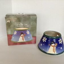 2 matching Candle Jar Ceramic Cover Christmas Shade Topper Vent Snowman Snow