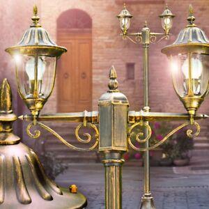 Kandelaber Außenstehleuchte Garten Wege Hof Pollerlampe schwarz Gold Laterne