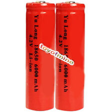 2PCS Deep Red 18650 Rechargeable Battery 6000mah 4.2v Li-ion Battery