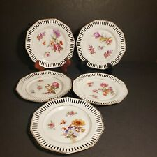 5 Vintage CS Bavaria Pierced Reticulated 7 inch plates floral pattern
