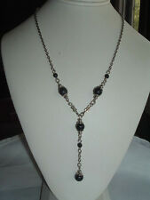 VINTAGE SILVERTONE BLACK CELLULOID BEAD NECKLACE CHAIN IN GIFT BOX