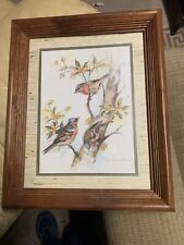 Birds in Tree by Paul Whitney Hunter  Vintage Wood Framed Art Print