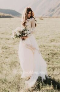 Dorris Wedding - Boho Style Wedding Dress - Long Sleeve - Size 14
