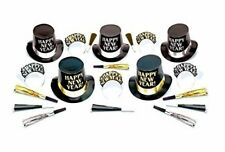 Midnight Elegance Party New Years Eve 20 Pc Black Silver Gold Kit For 10 Hats Ti