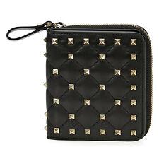 Valentino Rockstud Zip Around French Wallet - Black