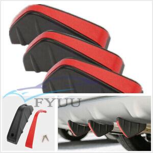 4X Upgrade Black+Red Vehicles Rear Bumper Diffuser Fin Spoiler Lip Wing Splitter