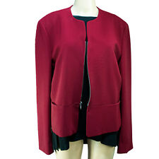 JONES NY Womens Red Polyester Crepe Blazer Jacket Size 16 Vintage