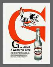 """GUNTHER BEER, ORIOLES, WJZ-TV & WBAL RADIO VINTAGE AD - ON 8.5"""" X 11""""CANVAS"""