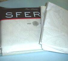 Sferra TASSO Queen White Duvet Cover Shams 5 PC. Set Egyptian Cotton Sateen New