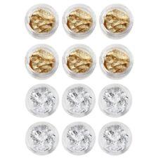 12pzs Gel UV frances puntas de arte de una lentejuela hojuela plata oro X8R7