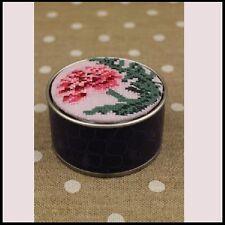 """SAJOU Cross Stitch Kit """"Carnation motif"""" Storage Round Box"""