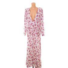 Maxikleid Sommerkleid Dress Flower Geblümt Impressionen Weiß Pink Langarm Gr. XL