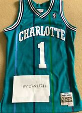 """Mitchell and Ness Throwback Charlotte Hornets """"Muggsy"""" Bogues Authentic Jersey"""
