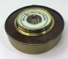Vintage Round Wood & Brass Bound Wall Ships type Barometer - Visible Workings