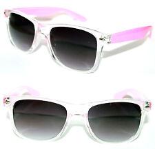 Men's Women's Wayfarer Sunglasses clear Pink frame black Lens Retro Vintage