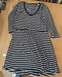 Ladies 'TU' Blue/White striped long sleeve over Top . Size 14. vgc