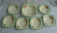 More details for j&g meakin sol regḏ 391413 dessert dish 21cm & 6 bowls square green rim & floral