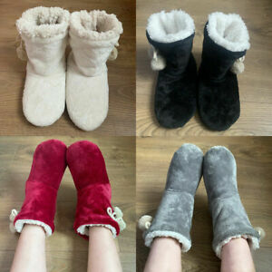 LADIES WOMENS WARM BOOTIE POM BOOTEE POM WINTER ANKLE BOOTS SLIPPERS SIZE 3-8~