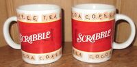 Set of 2 Used Scrabble Board Game Coffee Tea Hot Cocoa Cup Mug 2002 Hasbro Lot