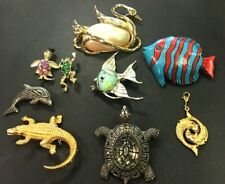 Vintage Jewelry Lot Aquatic Animal Brooch Frog Turtle Alligator Fish Pendant Pin