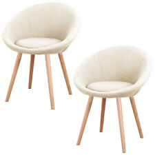 2x Leisure Dining Chair Beige Sponge Fabric Chair Armchair Back Home Restaurants