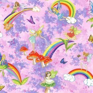 Nutex 100% Cotton Print Fabric by Nutex Pretty Please Fairies Pink Fat Quarter