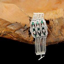 Bracciale Argento Grande Art Deco Catena Sottile Multirank Verde Smeraldo