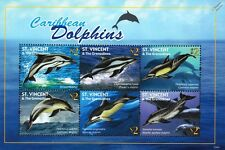 DOLPHINS of the Caribbean Marine Life Stamp Sheet (2011 St Vincent & Grenadines)