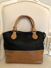 Leather Black and Tan Bucket Handbag Pony Fur Blue Illusions Brand short handles