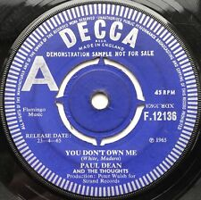 PAUL DEAN AND THE THOUGHTS - YOU DON'T OWN ME rare 1965 UK DEMO 45