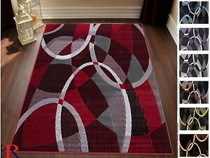 Area Rugs 8x10 Abstract Rug Contemporary Oval Circle Red Gray Black 5x7 Rug