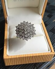 Ring Large Cluster 9 Carat Yellow Gold Cubic Zirconia Pre Owned