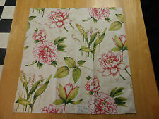 "Strheim&Romann MEADOW COVE DESIGNER FABRIC REMNANT New 26""sq Peonies Lily P6"