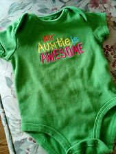 Baby girl green short sleeved bodysuit 6 month my auntie is awesome