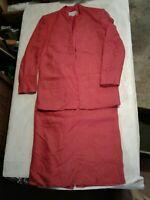 Vintage Christian Dior 1980-1990 Women 6 Blazer Skirt Suit Red (CB55)