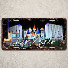LP317 Las Vegas Sign Rust Vintage Auto License Plate Vacation Home Store Decor