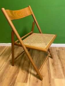 Vintage Cane Folding Chair Space Age Mid Century Design Wooden Atomic Retro