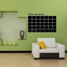 Monthly Planner Calendar Blackboard Removable Wall Sticker Chalk Board Home