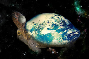 Framed Print - the World on the Back of a Turtle (Universe Galaxy Picture Art)